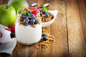 yogurt, berries, apples